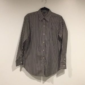 Ralph Lauren black and white strip button down top